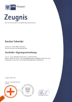 Trainer Skills Certificate of Chamber of Industry and Commerce Potsdam according to the German AEVO